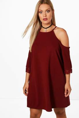 boohoo Plus Cold Shoulder Crochet Trim Swing Dress
