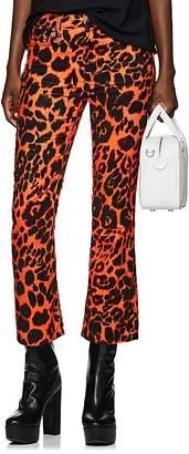 R 13 Women's Kick Fit Leopard-Print Velvet Mid-Rise Pants