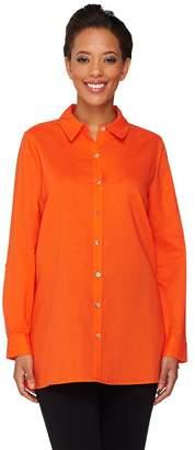 Susan Graver Linen Blend Button Front Long Sleeve Shirt