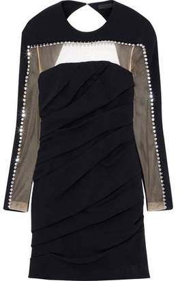 Alexander Wang Tulle-Paneled Crystal-Embellished Cutout Crepe Mini Dress