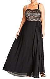 City Chic Eyelash Ebony Lace & Chiffon Gown