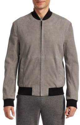 Saks Fifth Avenue MODERN Suede Ribbed Bomber Jacket