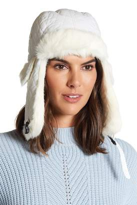 Surell Genuine Rabbit Fur Trim Quilted Trooper Hat