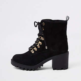 River Island Black faux fur lace-up chunky hiking boots