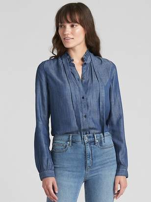Gap Ruffle Tie-Neck Shirt in TENCEL