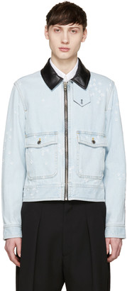 Givenchy Blue Leather-Trimmed Denim Jacket $2,110 thestylecure.com