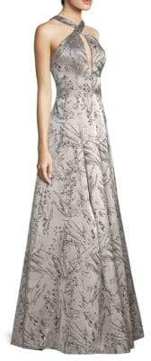 Aidan Mattox Floral Halter Gown