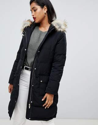 Vila Down Padded Jacket With Faux Fur