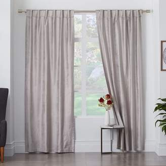 west elm Cotton Luster Velvet Curtain - Platinum