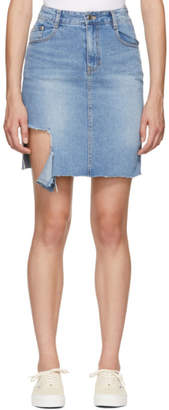 Sjyp Blue Denim Cut-Out Skirt