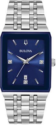 Bulova Men's Diamond-Accent Stainless Steel Bracelet Watch 31x45mm, Created for Macy's