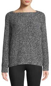 Marled Raglan Wool-Cashmere Boat-Neck Sweater