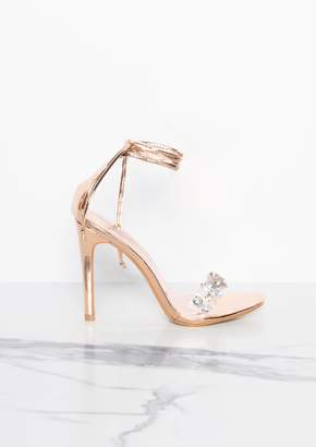 232677c725b1 Missy Empire Missyempire Destiny Rose Gold Jewelled Lace Up Heels