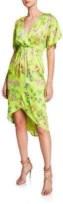 Aidan Mattox Dolman-Sleeve Pleated Floral Short-Sleeve Dress