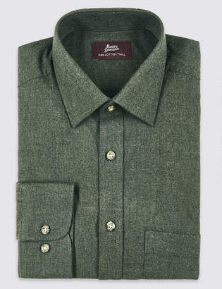 Marks and Spencer Pure Cotton Twill Regular Fit Shirt