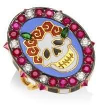 Holly Dyment Diamonds & 18K Yellow Gold Gemstone Skull Ring