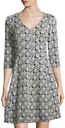 Taylor Jacquard Knit Fit-and-Flare Dress