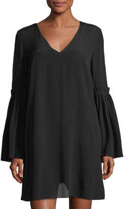 1 STATE 1.State V-Neck Bell-Sleeve Swing Dress