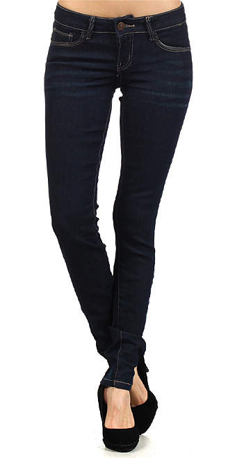 Navy Dark Denim Silver-Embellished Pocket Skinny Jeans - Women