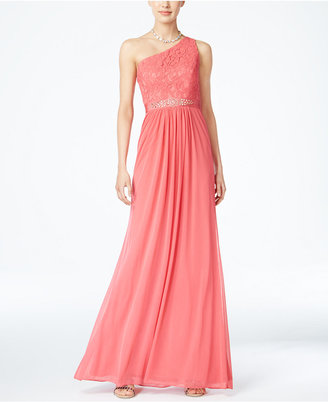 Adrianna Papell Embellished Lace One-Shoulder Gown $179 thestylecure.com