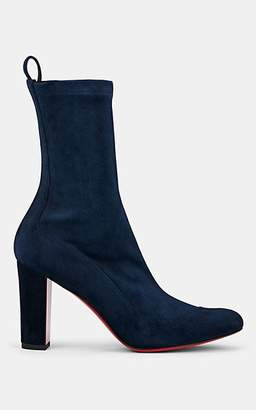 Christian Louboutin Women's Gena Stretch-Suede Ankle Boots - Marine