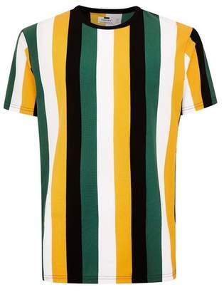 Topman Mens Multi Green and Yellow Stripe T-Shirt