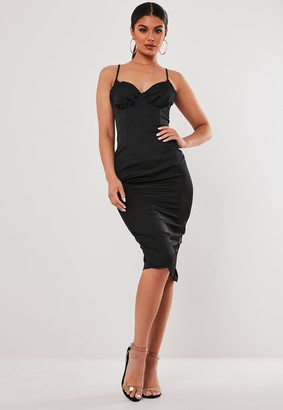 Missguided Stassie X Black Satin Ruched Cup Bodycon Midi Dress