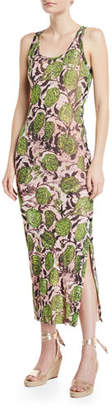 Fuzzi Rose-Print Side-Button Maxi Dress