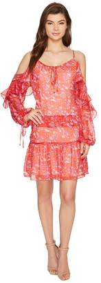 Adelyn Rae Kaileen Woven Printed Frill Shirtdress Women's Dress