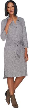 Halston H By H by Regular Rib Knit Button Front Dress with Tie