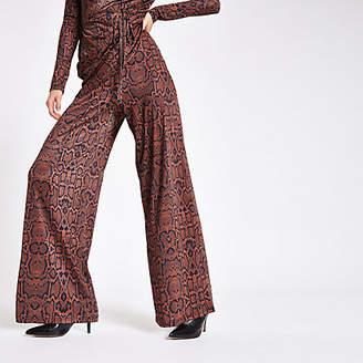 River Island Womens Brown snake print wide leg trousers