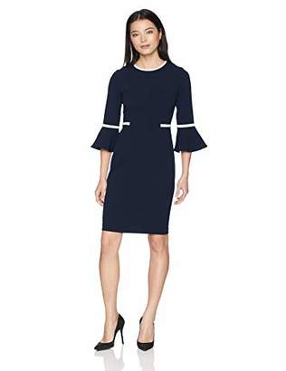 Calvin Klein Women's Petite Bell Sleeve Dress with Contrast Piping