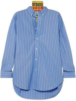 Tag Oversized Appliquéd Striped Cotton-poplin Shirt - Blue