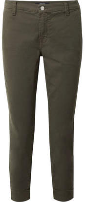 J Brand Josie Cropped Stretch-cotton Twill Tapered Pants - Army green