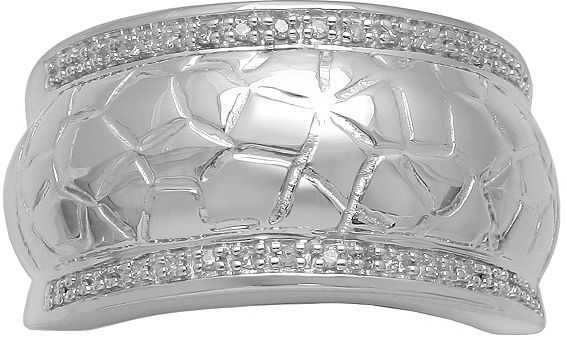 Sterling silver 1/10-ct. t.w. diamond textured ring