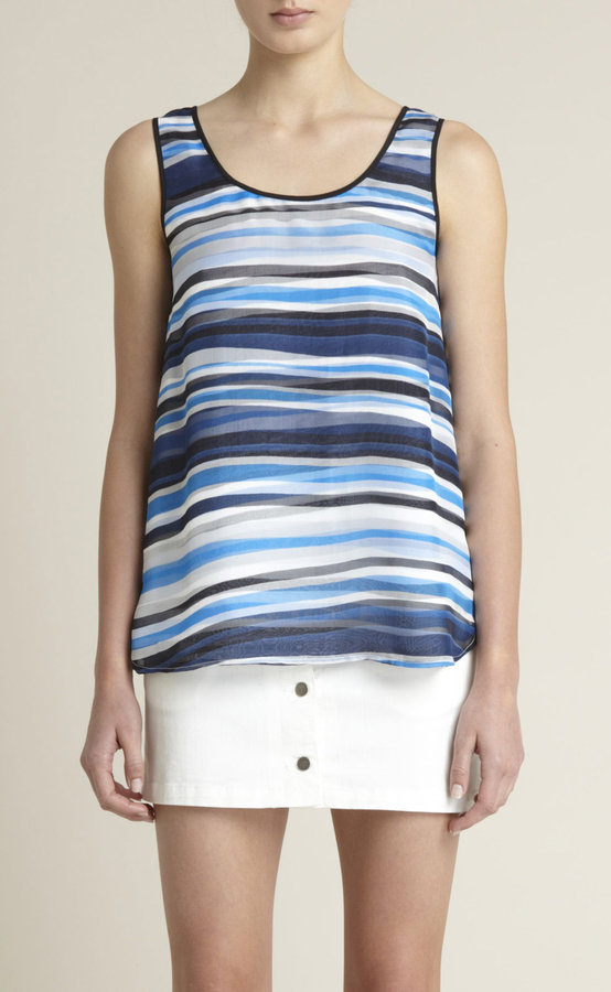 Striped Slouchy Silk Tank