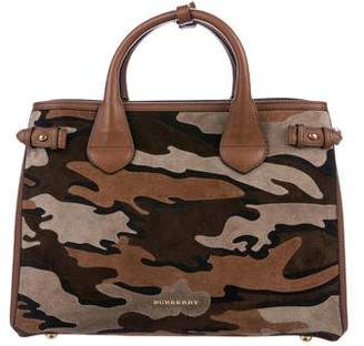 Burberry Camouflage Suede Banner Bag