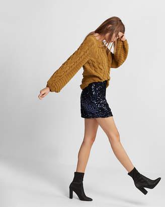 Express High Waisted Flocked Sequin Mini Skirt