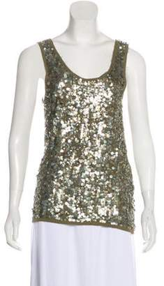 Alice + Olivia Silk Sequin Sleeveless Top Olive Silk Sequin Sleeveless Top