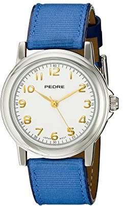 Pedre Women's 0231SX Silver-Tone/ Blue Grosgrain Strap Watch