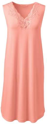 Lands' End Orange Womens Cotton Modal Sleeveless Night Gown