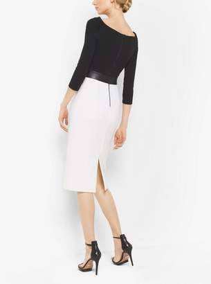 Michael Kors Contrast Stretch Boucle-Crepe Dress