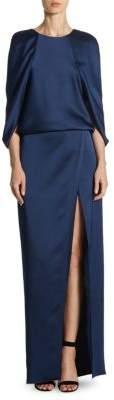 Halston Cape-Sleeve Floor-Length Gown