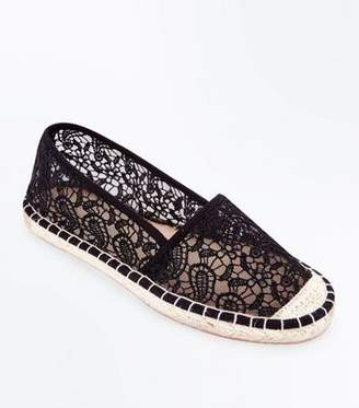 New Look Wide Fit Black Crochet Espadrilles