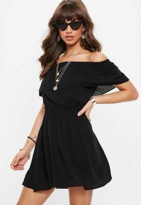 Missguided Black Bardot Skater Dress