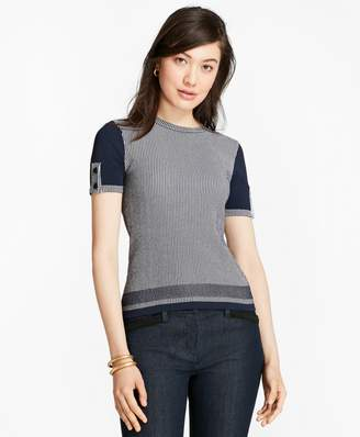 Brooks Brothers Ribbed-Knit Short-Sleeve Sweater