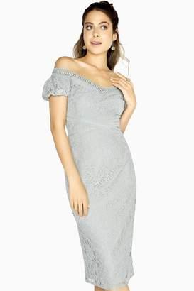 Little Mistress Emilia Geometric Lace Bardot Dress 94de8bbb5
