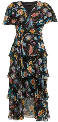 Etro Cumbria Floral Print Silk Chiffon Midi Dress - Womens - Black Multi