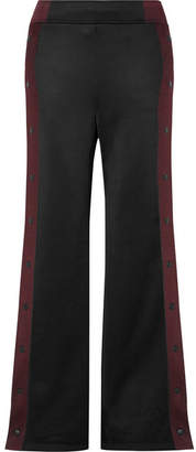 Alexander Wang Striped Coated-french Terry Wide-leg Track Pants - Black