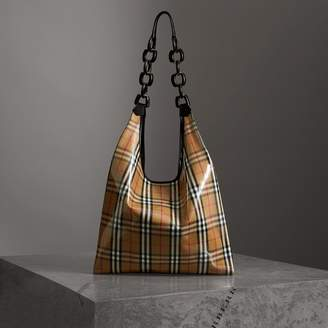 Burberry Medium Plastic Vintage Check and Leather Shopper